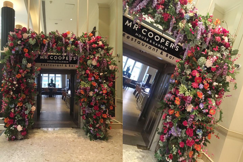 Flowered entrance at Mr Coopers Restaurant Midland Hotel